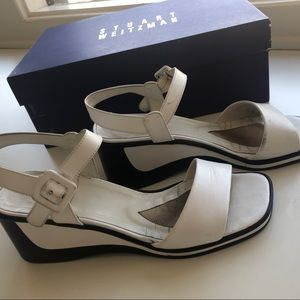 Stuart Weitzman Easily White Calf Sandals